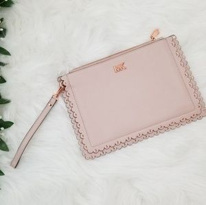Michael Kors Rose Gold Leather Scallop Wristlet